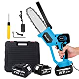 SeeSii Mini Electric Cordless Chainsaw with 2pcs Battery, 8 Inch Portable Battery Powered Chainsaws Handheld Chain Saw Pruning Shears for Tree Branch Wood Cutting (Case Included)