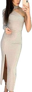 chenshiba-JP 女性1肩スリムフィットマキシカクテルは、セクシーパーティードレスセクシードレス