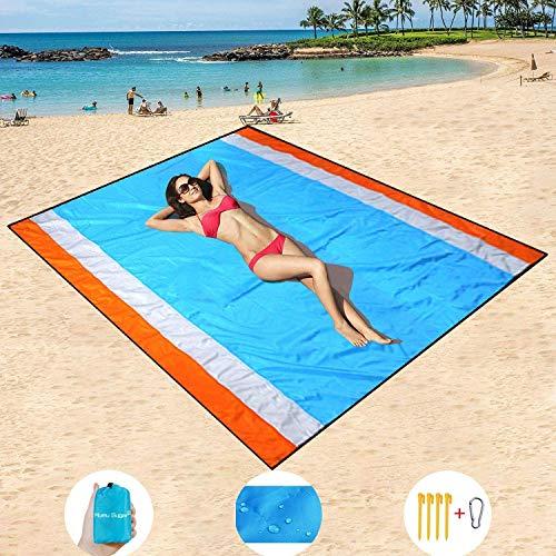 HISAYSY Stranddecke, 210 x 200 cm Sandfreie Picknickdecke Campingdecke Strandtuch, wasserdichte sandabweisende Camingmatte, schnell troknend, Ultraleicht und kompakt Campingdecke für Camping, Wandern