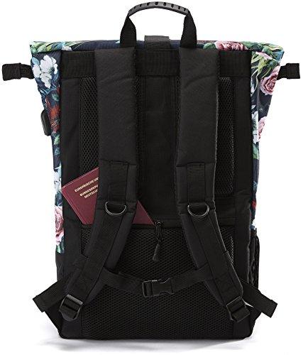 Ela Mo's Rucksack Damen   Schön und Durchdacht   für Uni Reisen Freizeit Job   mit Laptopfach & Anti Diebstahl Tasche   Blumen - 5