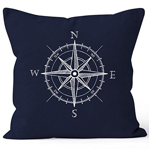 MoonWorks Kissenbezug Wind-Rose Kompass Kissen-Hülle Deko-Kissen 40x40 Baumwolle Navy Pullover