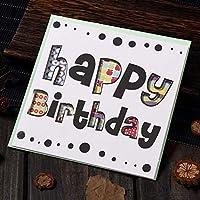 誕生日パーティーのグリーティングカード 多色印刷された中空の花植物のグリーティングカード 祝福メッセージはがきギフトカード 1個/12個/24個/60個 AQ045 (K,60個)