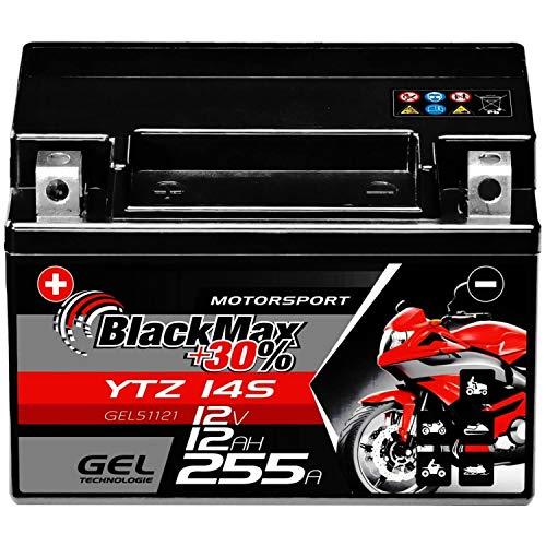 BlackMax YTZ14S Motorradbatterie GEL 12V 12Ah YTZ14-4 Batterie GTZ14-4 YTZ14-S