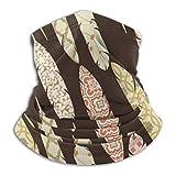 ShiHaiYunBai Halstuch/Kopftuch Fleece Neck Warmer - Patch Ornate Colorful Feathers Neck Gaiter Tube, Bandana, Headband & Beanie