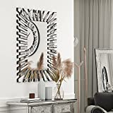 Decorative Big Mirror for Wall - SHYFOY Starburst Silver Rectangular Decor Glass Mirror, Frameless Modern Accent Wall-Mounted Furniture for Home/ Hotel Living Room Bedroom