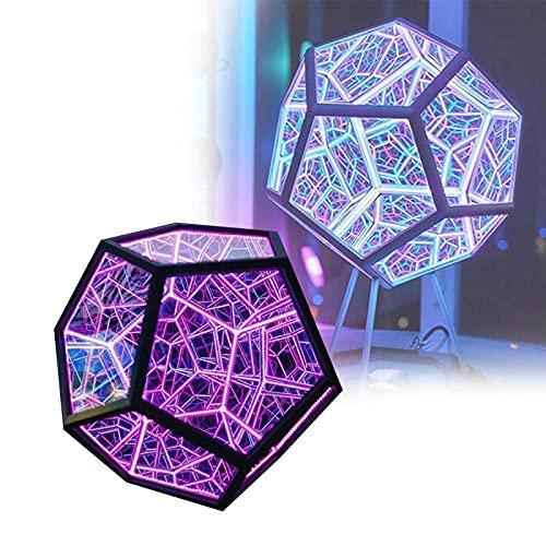 HGeufKH Luz de Noche de Color dodecaedro, lámpara Decorativa de Carga USB, decoración de Escritorio para el hogar, luz LED de Espacio en Espiral, luz de Color Ajustable