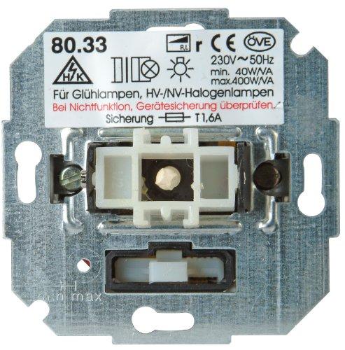 Kopp 806800004 Dimmer mit Wippenschalter (Phasenanschnitt) RL, Sockel