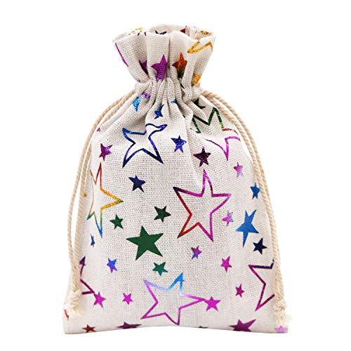 SumDirect 20Pcs Color Star Print Linen Bolsa de Lino, Mini Bolsas de...