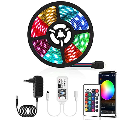 Tiras LED 5M Impermeable,Damtong Inteligente WiFi Tiras Luces LED,Control APP Control Remoto,RGB Sync Música Tira LED,Compatible con Alexa Google Assistant,Adecuado para Cocina,Dormitorio,TV,F