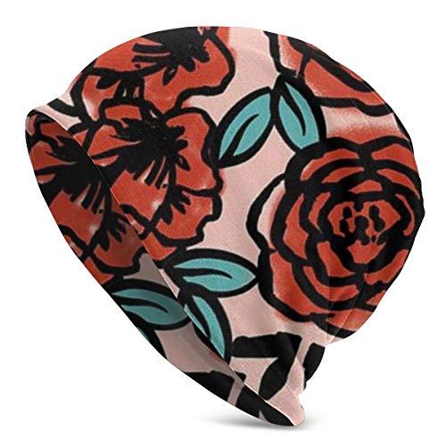 XCNGG Patrón de Rosas Rojas Soft Slouchy Beanie Sombreros Gorra de Calavera Holgada Larga Diaria - Hombres y Mujeres