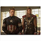 mmkow Puzzle Set 1000 Marvel'S Age of Avengers Captain America Steve Rogers Chris Evans and Thor Chris Hemswall Lover or Friend Gift 26x38