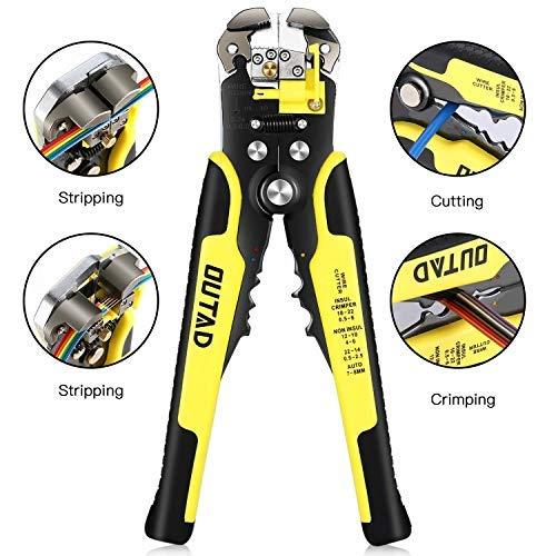 Automatische Abisolierzange, OUTAD 3 in 1 Multifunktionale Schneidzange/Crimpwerkzeug/Drahtschneider/Crimpzange/Kabel Crimper/Wire Stripper, Schneiden und Crimpen für Kabeldurchmesser von 0.2-6mm²