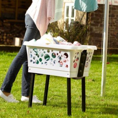 Lakeland Laundry & Washing Basket On Retractable Legs – 45L (Saves Bending)