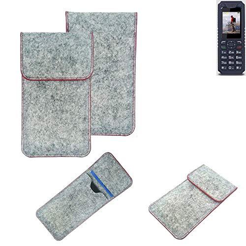 K-S-Trade® Handy Schutz Hülle Für Bea-fon AL250 Schutzhülle Handyhülle Filztasche Pouch Tasche Hülle Sleeve Filzhülle Hellgrau Roter Rand