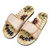 Leobtain Yoga Fitness Massage Slippers Acupoint Slippers Massage Ball Slippers Shoes Reflexology Relax Sandals For Men and Women with Cobblestone Stones