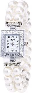 Women Watch Band Fheaven,Fashion Casual Pearl String Watch Strap Quartz Wrist Square Watch (White)