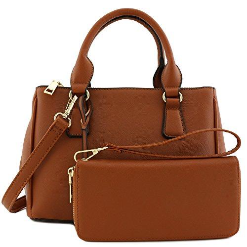 2pcs Set Classic Triple Zip Top Handle Small Satchel Bag with Zip Around Wallet Brown