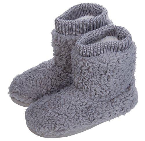 MIXIN Women's Warm Faux Fleece Fuzzy Indoor Outdoor Slipper Boots Shoes Grey 9-10 M US
