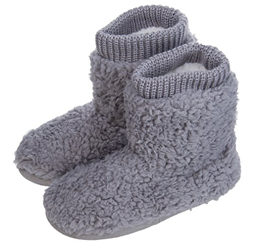 MIXIN Women's Warm Faux Fleece Fuzzy Indoor Outdoor Slipper Boots Shoes Grey 7-8 M US