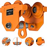 OrangeA Heavy Duty Manual Trolley 1 Ton Capacity Plain Trolley 2000LBS Push Beam Track Roller Trolley Crane Lift Dual Wheels Garage Hoist for Straight Curved I Beam
