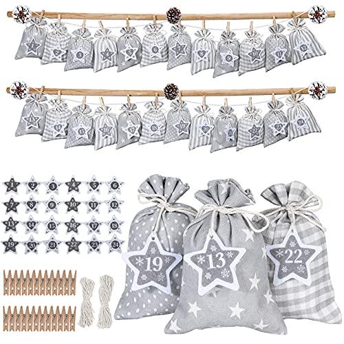 YILEEY Calendrier de l'avent, 24 Calendrier de l'avent a Remplir Soi Meme avec Etiquettes Numéro, DIY enfant Noël Cadeaux Sacs Pochon Tissu 18 x 12.5cm pour Chocolat, Jouet, Bonbon Casse Tete, Gris