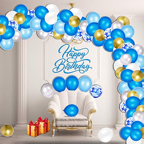 Balloon Arch Garland Kit, Sky Blue Balloons Birthday Decoration, Navy Blue Silver Gold Latex Confetti Balloons Set for Baby Shower, Wedding, Anniversary, Birthday, Party Decorations