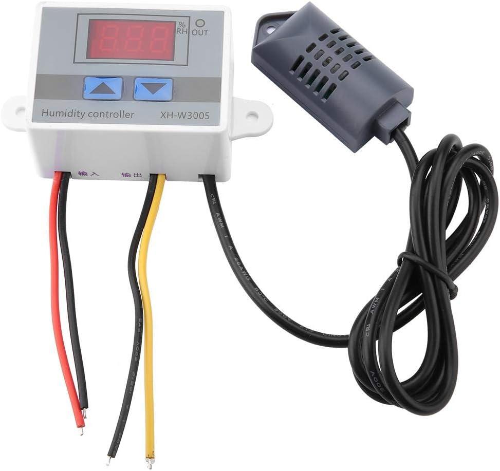Controlador de humedad digital, XH-W3005 Controlador de interruptor de higrómetro digital Sensor de humedad 0 ~ 99% HR 12 V / 24 V / 220 V, arriba y abajo de dos botones(220V)