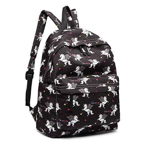 Miss Lulu Mädchen Segeltuch Schulrucksack Studenten Rucksack Teenager Schultasche Freizeit Daypacks (Einhorn Schwarz)