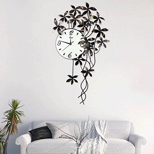 Bonne action Horloge murale Fer Forgé Fleur Horloge Murale Moderne Décoration de La Maison Mur Graphique Chambre Creative Art Mute Horloge
