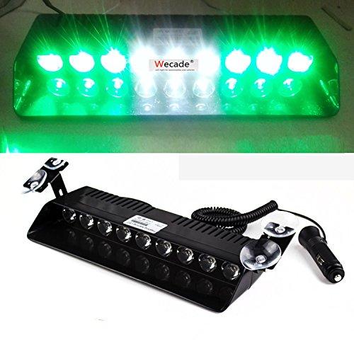 Wecade 9 Led 9w Car Truck Strobe Windshield Dash Lights 16 Pattern Super Bright for EMS Law Enforcement Warning LED Strobe Lights (Green/White/Green)