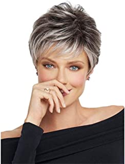 MIPPER Short Pixie Cut Wig with Bangs Black Roots to Silver Grey Short Layered Curly Hair Synthetic Wig for Women