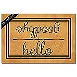 Funny Doormat for Indoor Outdoor - Hello Goodbye Funny Front Doormat Entrance Floor Mat Non Slip Mats Indoor Outdoor Rug 23.6 in(L) by 15.7 in(W)