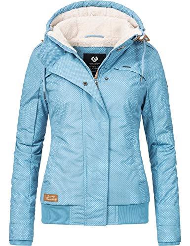 Ragwear Damen Winterjacke Outdoorjacke Ewok Hellblau Dots Gr. XL