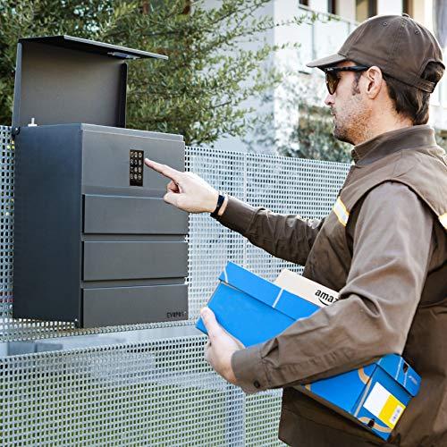Evopost XL - Elektrische Brievenbus - Digitale Opening Zonder Sleutels, E-commerce box, internationaal Octrooi WIPO, 44 x 38 x 23 cm - Grijs Antraciet