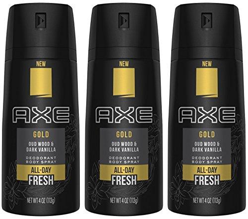Axe Deodorant Body Spray - Gold - Oud Wood & Dark Vanilla - Net Wt. 4 OZ (113 g) Per Can - Pack of 3 Cans