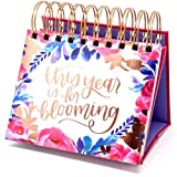 bloom daily planners Undated Perpetual Desk Easel/Inspirational Standing Flip Calendar - (5.25' x 5.5')- Hand-Lettered