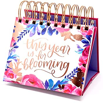 bloom daily planners Undated Perpetual Desk Easel / Inspirational Standing Flip Calendar -  5.25  x 5.5  - Hand-Lettered
