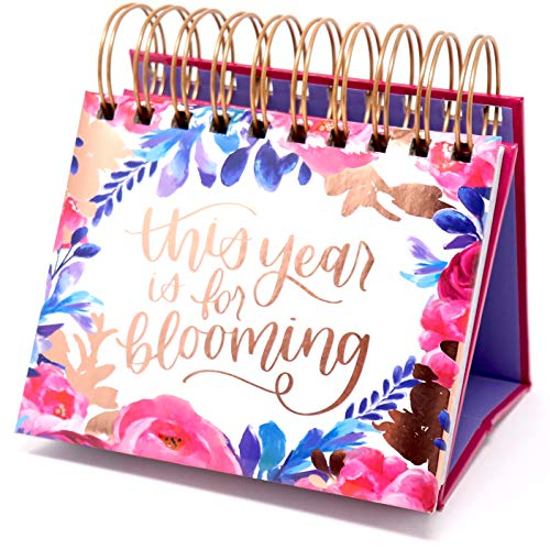 """bloom daily planners Undated Perpetual Desk Easel/Inspirational Standing Flip Calendar - (5.25"""" x 5.5"""")- Hand-Lettered"""