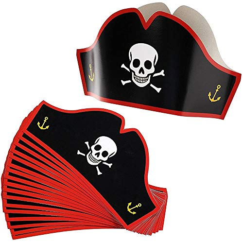 Paper Pirate Party Hats for Halloween (24 Pack)