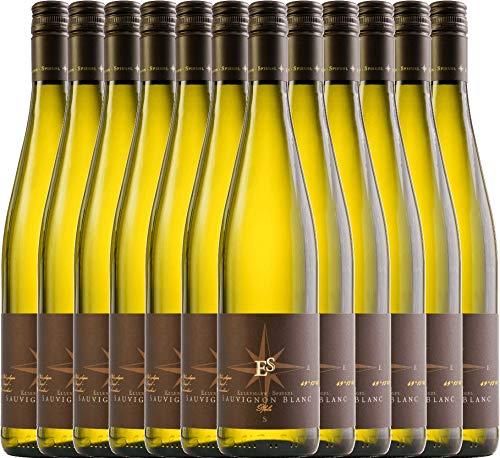 VINELLO 12er Weinpaket Weißwein - Sauvignon Blanc 2020 - Ellermann-Spiegel mit Weinausgießer | trockener Weißwein | deutscher Sommerwein aus der Pfalz | 12 x 0,75 Liter