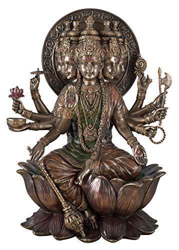Veronese Figur Indischer Hindu Gott Gayatri Mantra Gott der Sonne Statue Skulptur bronziert