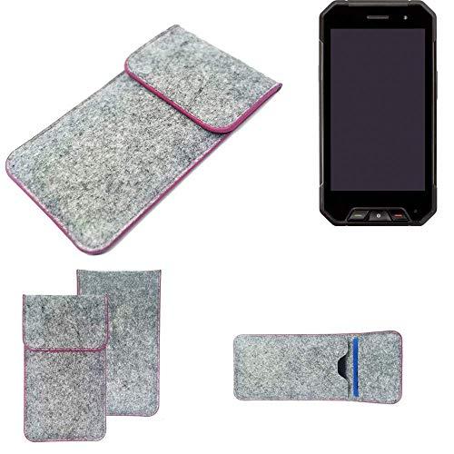 K-S-Trade Handy Schutz Hülle Für Cyrus CS 27 Schutzhülle Handyhülle Filztasche Pouch Tasche Hülle Sleeve Filzhülle Hellgrau Pinker Rand