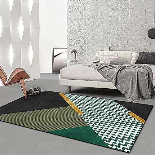 Home Decor Rugs Yoga Mat Antiestáticas Lavables Home Alfombra Geometría de Pata de Gallo Verde Oscuro Esmeralda de Lujo Ligero moderno80x160cm(2'6''x5'2'')