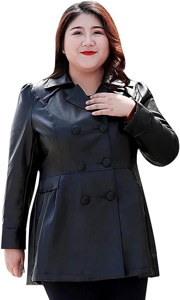 Women's PU Leather Coat Large Size