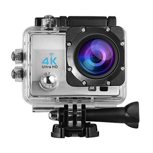 4K Action Kamera, LESHP WIFI HD 1080P Helmkamera Motorrad Sports Action Camera Cam 2.0 Zoll Wasserdichte Unterwasserkamera mit 170° Weitwinkel, 1050mAh Akku und kostenlosen Zubehör Kit