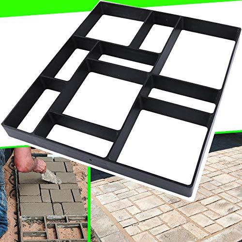 "17.5""x15.5""x1.5"" CJGQ Walk Path Maker Reused Concrete Molds Pathmate Stone Molding Stepping Stone Paver Walk Way DIY Path Paving Garden Yard Patio Mold (10-Grid)"