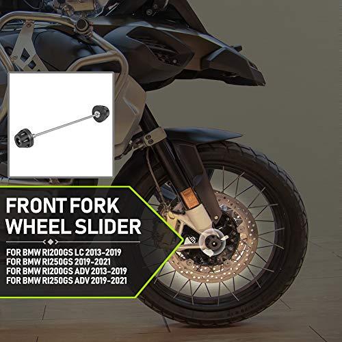 Lorababer Deslizadores de Horquilla para Eje de Rueda Delantera para Motocicleta, Protección contra caídas para B.M.W R1200GS LC / ADV (2013-2019) R1250GS / ADV (2019-2021)
