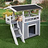 Tobbi Dog House Outdoor Shelter Roof Cat Condo Wood Steps Balcony...