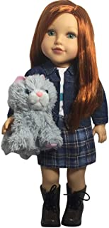 Newberry 18 Inch Doll - Zoe with Long Red Hair, Green Eyes, Denim Jacket, Skirt, Boots and Kitty - Bundle