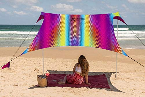 Beach Tent Sunshade Family Size 9.8'X9.8', 7ft Tall with Sandbag Anchors, Simple & Versatile. SPF50, Lycra SunShelter for The Beach,Camping and Outdoors. (red, Large)